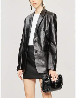 Helmut Lang Notch-lapel long-sleeved leather jacket