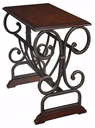 Signature Design by Ashley Ashley Furniture Signature Design - Braunsen Chairside End Table - Contemporary Metal With Bronze Color - Rectangular - Brown