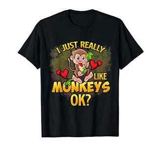 Just Really Like Monkeys Cute Zoo Animals T-Shirt