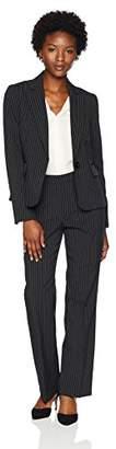 Le Suit Women's Petite Pinstripe 1 Button Notched Collar Pant
