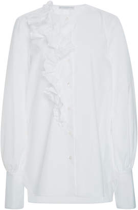 Ermanno Scervino Ruffled Poplin Button-Up Blouse