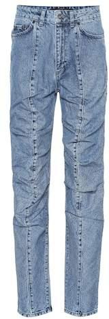 Ruffled straight-leg jeans