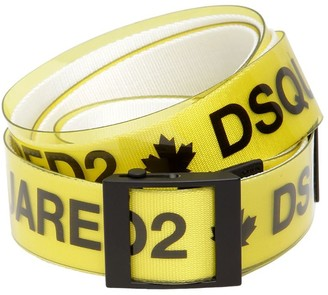DSQUARED2 40mm Rubber & Cotton Canvas Logo Belt