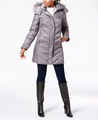 Kenneth Cole Faux-Fur-Trim Down Chevron Puffer Coat