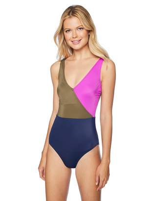 Coastal Women's Swimwear Wrap Front Colorblock One Piece Swimsuit