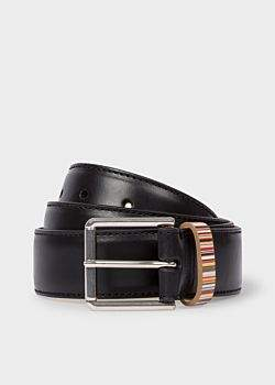 Men's Black Leather Belt With 'Signature Stripe' Keeper