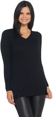 Halston H By H by V-Neck Long Sleeve Tunic Sweater