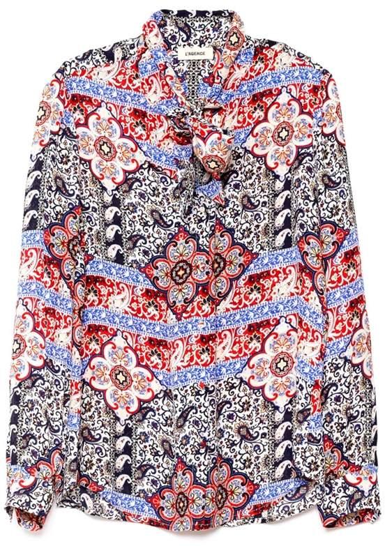 L'Agence Gisele Paisley Print Neck Tie Blouse