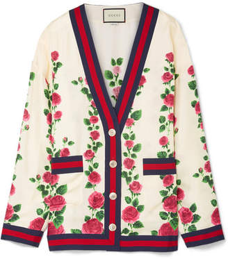 Gucci Grosgrain-trimmed Floral-print Silk-satin Cardigan - Ivory
