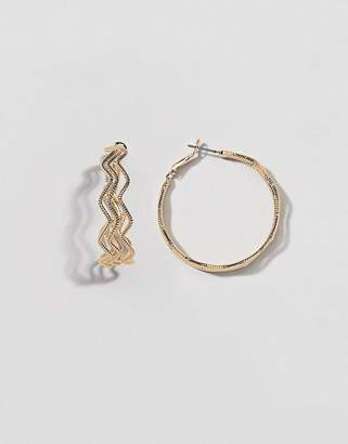 At Asos Design Hoop Earrings With Triple Textured Wave In Gold