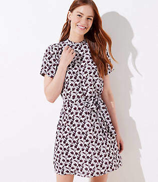 LOFT Vine Mock Neck Flare Dress