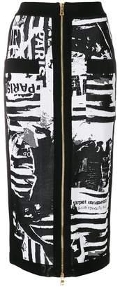 Balmain printed knit midi skirt