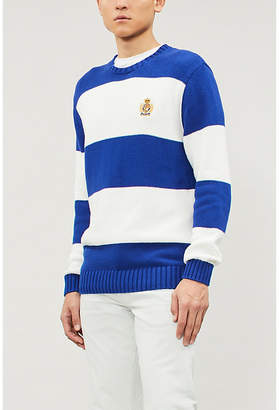 Polo Ralph Lauren Striped embroidered-logo cotton jumper