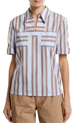 Tory Burch Striped Cotton Roll-Sleeve Tunic