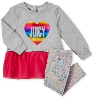 Juicy Couture Infant Girls) Two-Piece Rainbow Logo Tutu Tunic & Leggings Set