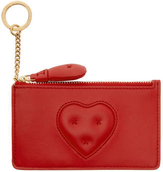 Anya Hindmarch Red Chubby Heart Zip Card Holder