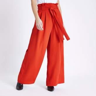 River Island Womens Petite red paper bag waist wide leg pants