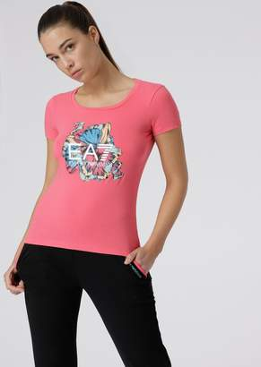 Emporio Armani Ea7 Stretch Cotton T-Shirt With Floral Print And Logo