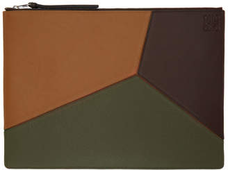 Loewe Khaki and Brown Large Puzzle Pouch