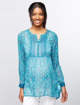 A Pea in the Pod Printed Chiffon Maternity Tunic- Tile Print