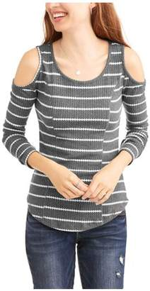 No Comment Women's Long Sleeve Thermal Waffle Cold Shoulder T-Shirt