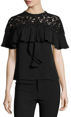 Rebecca Taylor Ruffled Lace-Yoke Georgette Top, Black $395 thestylecure.com