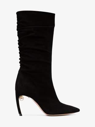 Nicholas Kirkwood Black Mira 90 Suede Boots