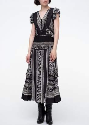 Sea Keely Flutter Sleeve Midi-dress In Black Multi