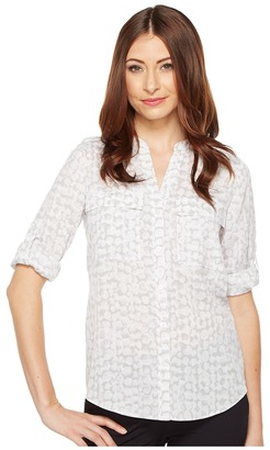Calvin Klein - Printed Roll Sleeve Women's Clothing $69.50 thestylecure.com