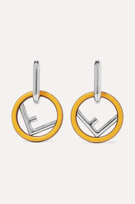 Fendi Silver-tone, Wood And Enamel Earrings