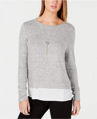 BCX Juniors' Necklace-Embellished Contrast Sweater