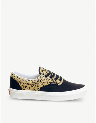 Vans Era leopard-print leather and canvas trainers