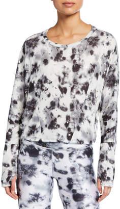 Terez Foil-Print Tie-Dye Cropped Pullover
