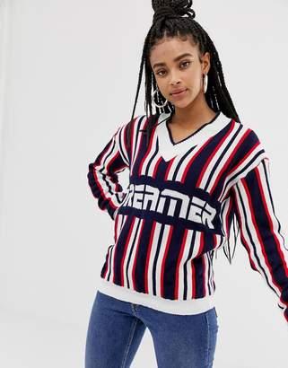 Daisy Street dreamer slogan sweater in knitted stripe