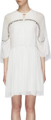 Chloé Beaded yoke pleated silk chiffon dress