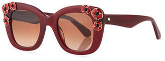 Kate Spade Drystle Flower-Trim Acetate Sunglasses