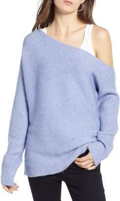 Treasure & Bond One-Shoulder Ribbed Sweater