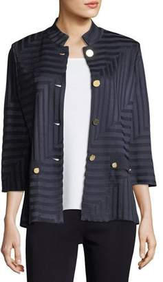 Misook Subtle Lines 3/4-Sleeves Jacket, Petite