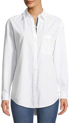 Tahari Denim Button-Down Oversized Cotton Shirt