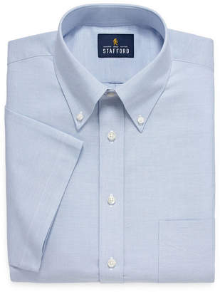 STAFFORD Stafford Travel Wrinkle Free Stretch Oxford Short Sleeve Dress Shirt - Big and Tall