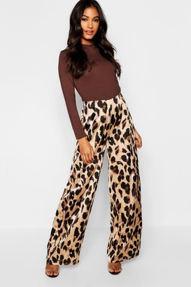 boohoo Satin Leopard Print Wide Leg Trouser