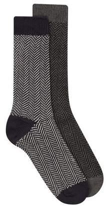 Topman Mens Black SELECTED HOMME Gray Navy Herringbone Socks