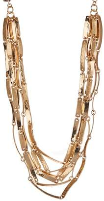 Robert Lee Morris Jewelry Matte & Hammered Multi-Row Statement Necklace