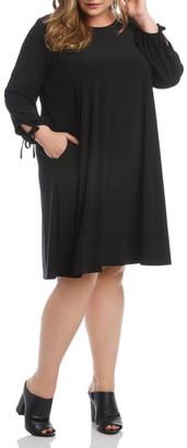 Karen Kane Tie Cuff Long Sleeve Swing Dress