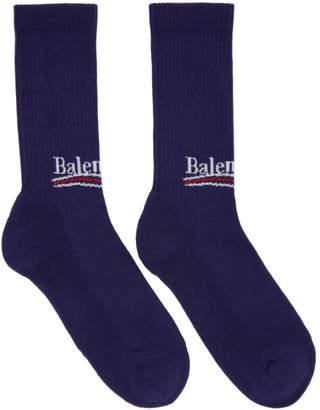 Balenciaga Blue Campaign Logo Socks