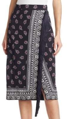 Jude Bandana-Print Fringed Skirt