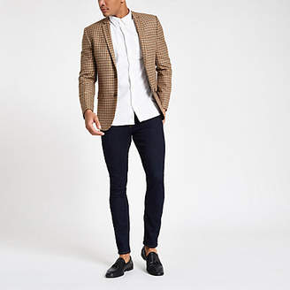 River Island Brown check skinny fit blazer