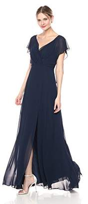 Jenny Yoo Women's Alanna Flutter Sleeve Open Back Long Chiffon Gown