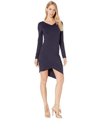 Susana Monaco Long Sleeve V-Neck Angled Wrap Dress