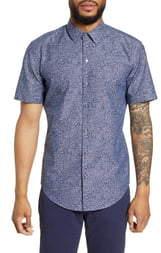 BOSS Robb Slim Fit Floral Short Sleeve Button-Up Sport Shirt